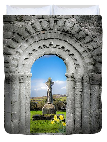Duvet Cover featuring the photograph Medieval Arch And High Cross, County Clare, Ireland by James Truett