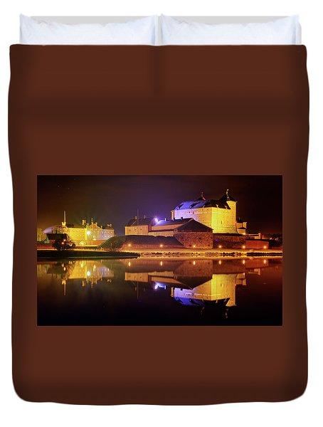 Medieval Castle By The Lake At Night Duvet Cover