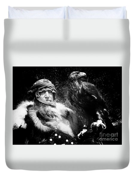 Duvet Cover featuring the photograph Medieval Fair Barbarian And Golden Eagle by Bob Christopher