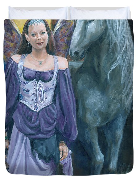 Duvet Cover featuring the painting Medieval Fantasy by Bryan Bustard