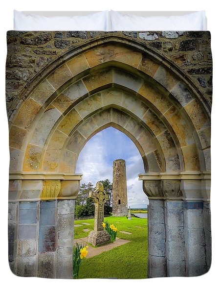 Duvet Cover featuring the photograph Medieval Irish Countryside by James Truett