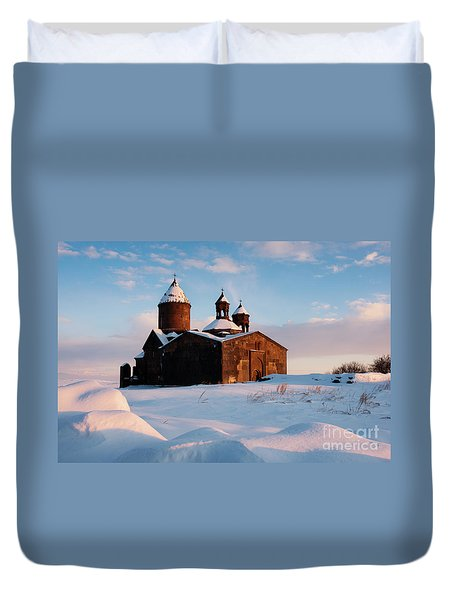Medieval Saghmosavank Monastery Covered By Snow At Sunset, Armenia Duvet Cover by Gurgen Bakhshetsyan