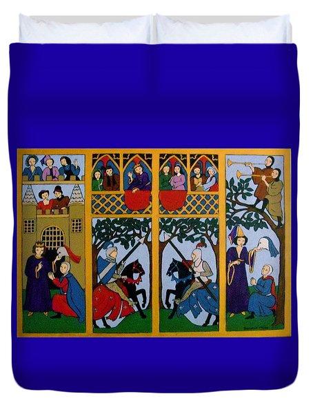 Medieval Scene Duvet Cover by Stephanie Moore