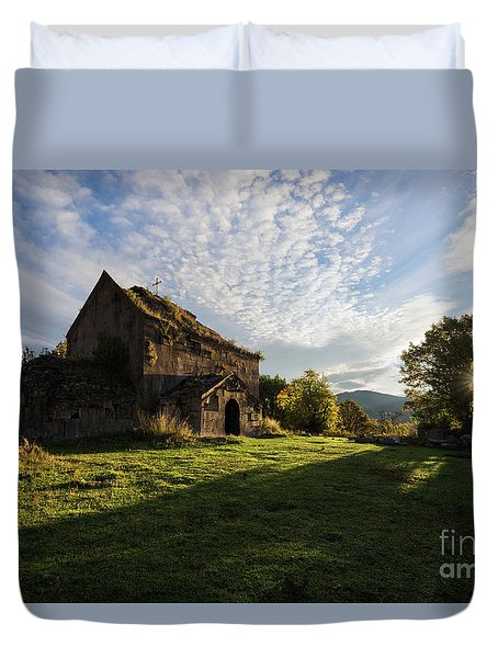 Medieval Tezharuyk Monastery During Amazing Sunrise, Armenia Duvet Cover