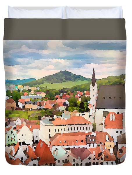 Duvet Cover featuring the digital art Medieval Village  by Shelli Fitzpatrick