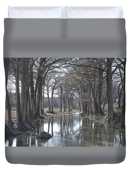 Medina River In Winter Duvet Cover