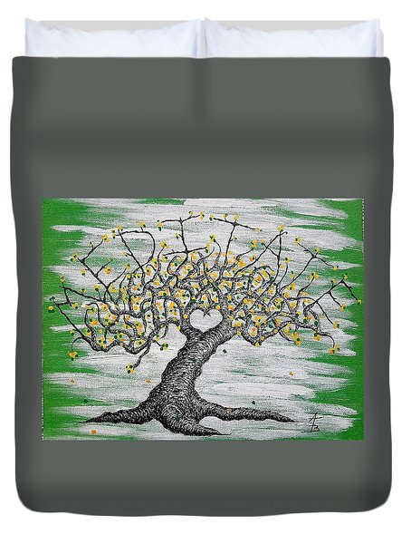 Duvet Cover featuring the drawing Meditate Love Tree by Aaron Bombalicki