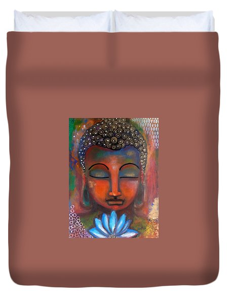 Meditating Buddha With A Blue Lotus Duvet Cover
