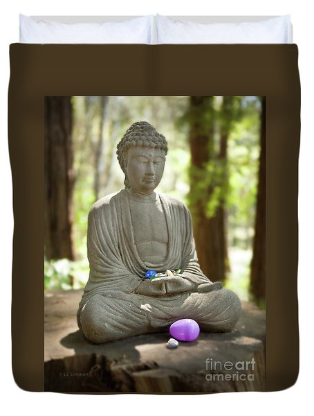 Meditation Buddha With Offerings Duvet Cover