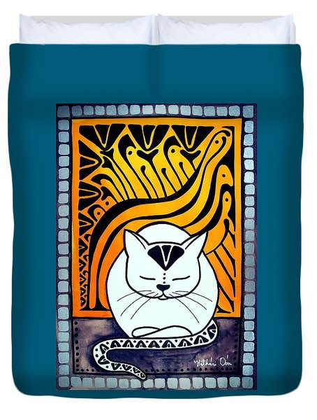 Meditation - Cat Art By Dora Hathazi Mendes Duvet Cover
