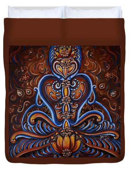 Duvet Cover featuring the painting Meditation by Harsh Malik