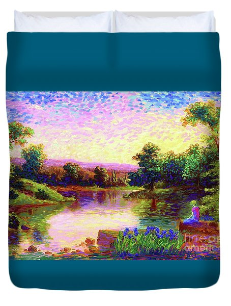 Duvet Cover featuring the painting  Meditation, Just Be by Jane Small