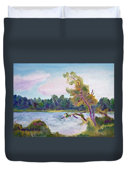 Meditation Lake  Duvet Cover
