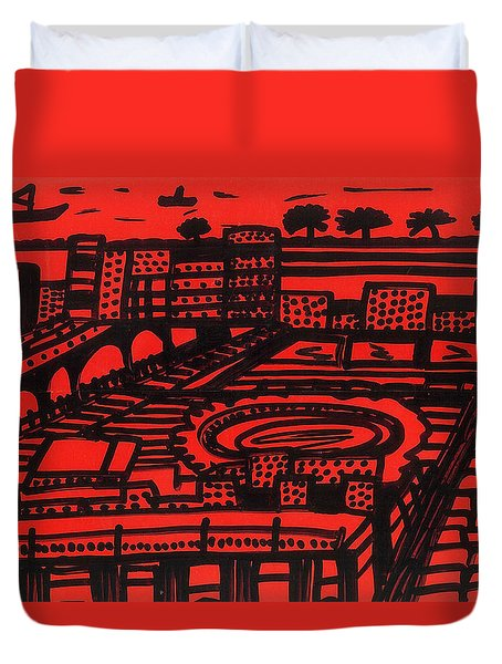 Duvet Cover featuring the drawing Mediterranean City by Don Koester