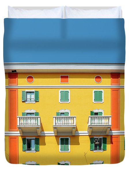 Mediterranean Colours On Building Facade Duvet Cover