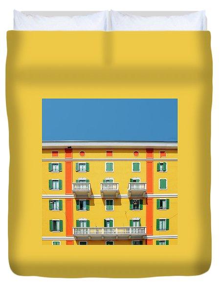 Mediterranean Colours On Building Facade Duvet Cover