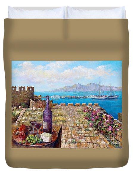 Mediterranean Picnic Kos Greece  Duvet Cover by Lou Ann Bagnall