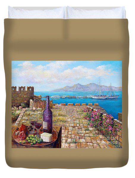Mediterranean Picnic Kos Greece  Duvet Cover