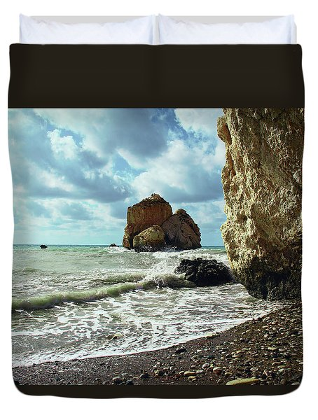 Mediterranean Sea, Pebbles, Large Stones, Sea Foam - The Legendary Birthplace Of Aphrodite Duvet Cover