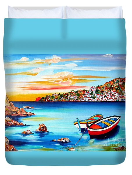 Mediterranean Sunset With Boats Duvet Cover by Roberto Gagliardi