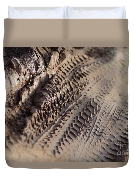 Duvet Cover featuring the photograph Medium Cu Motorcycle And Car Tracks In Mud by Jason Rosette