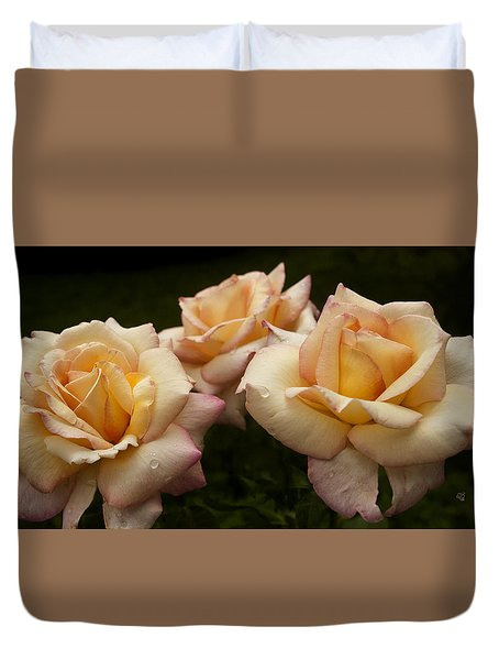 Duvet Cover featuring the photograph Medley Of Three Yellow Roses by Barbara Middleton