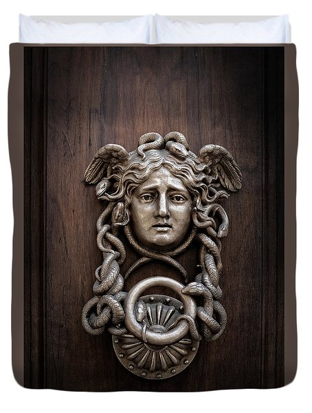 Medusa Head Door Knocker Duvet Cover by Edward Fielding