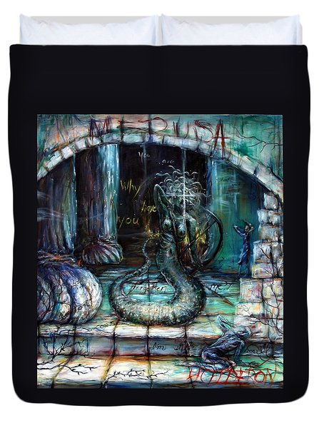 Duvet Cover featuring the painting Medusa by Heather Calderon