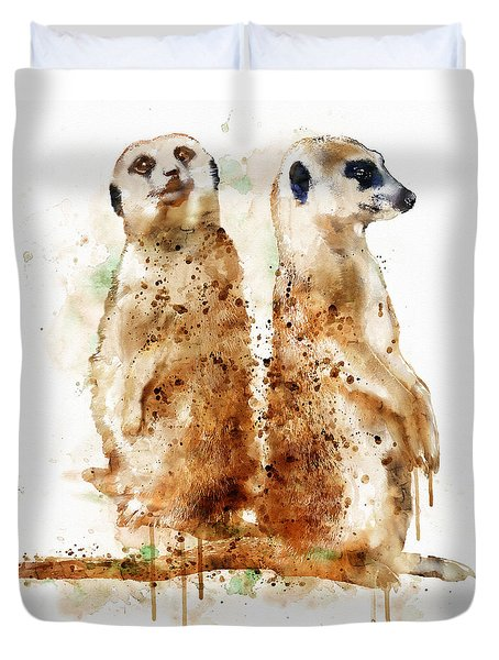 Meerkats Duvet Cover by Marian Voicu