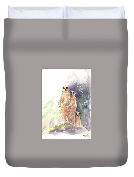Duvet Cover featuring the painting Meerkats On Watch by Asha Sudhaker Shenoy
