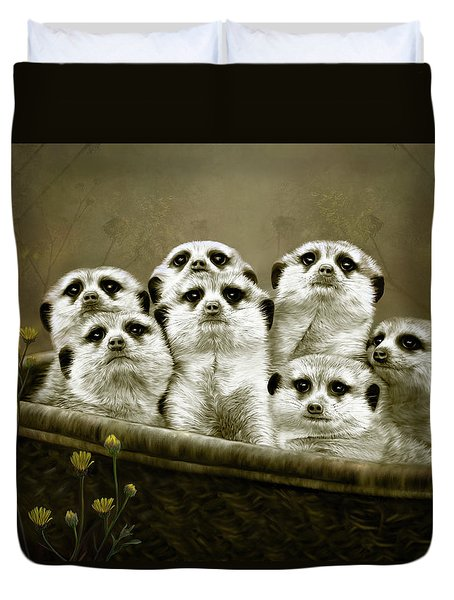 Duvet Cover featuring the digital art Meerkats by Thanh Thuy Nguyen