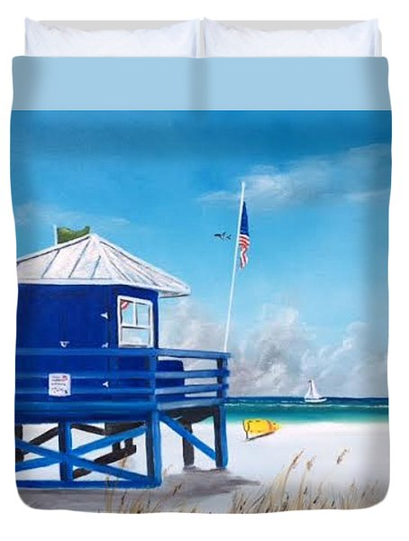 Meet At Blue Lifeguard Duvet Cover