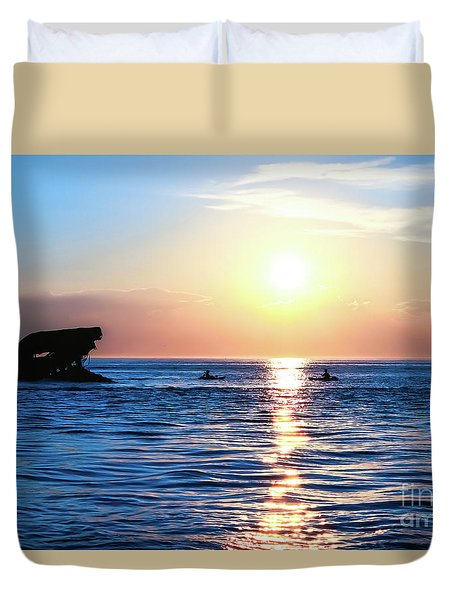 Meet Me At Sunset Duvet Cover by Colleen Kammerer