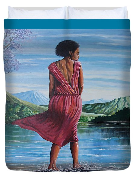 Duvet Cover featuring the painting Meet Me At The River by Anthony Mwangi