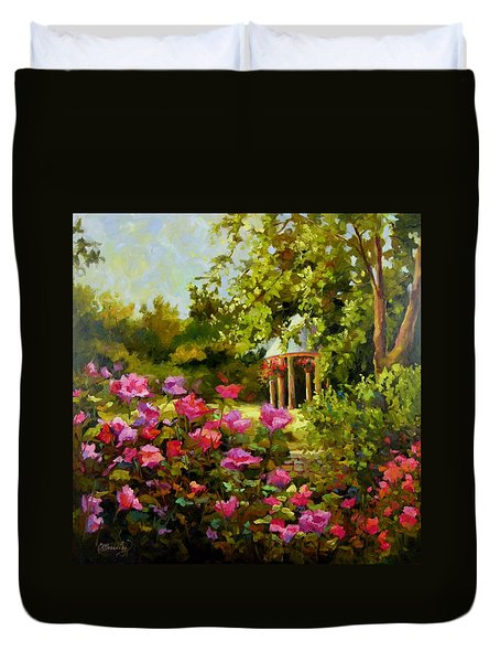 Duvet Cover featuring the painting Meet Me In The Garden by Chris Brandley