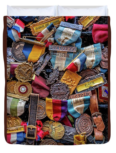 Duvet Cover featuring the photograph Meet Medals by Christopher Holmes