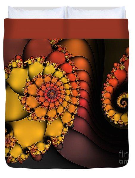 Duvet Cover featuring the digital art Meeting by Karin Kuhlmann