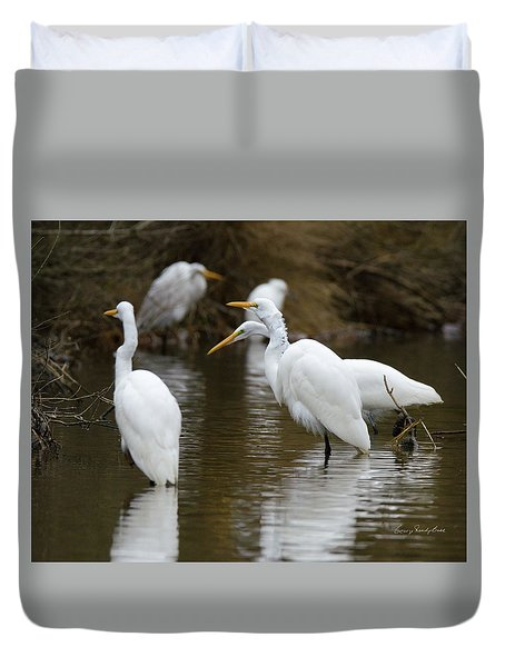 Duvet Cover featuring the photograph Meeting Of The Egrets by George Randy Bass