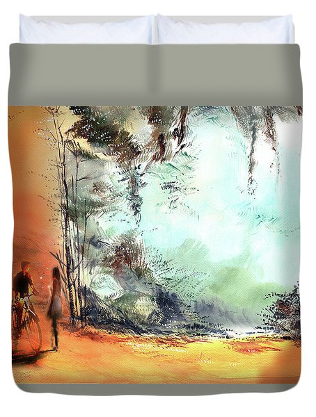 Duvet Cover featuring the painting Meeting On A Date by Anil Nene