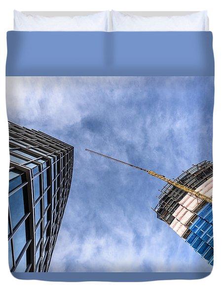 Meeting The New Neighbor Duvet Cover by Randy Scherkenbach