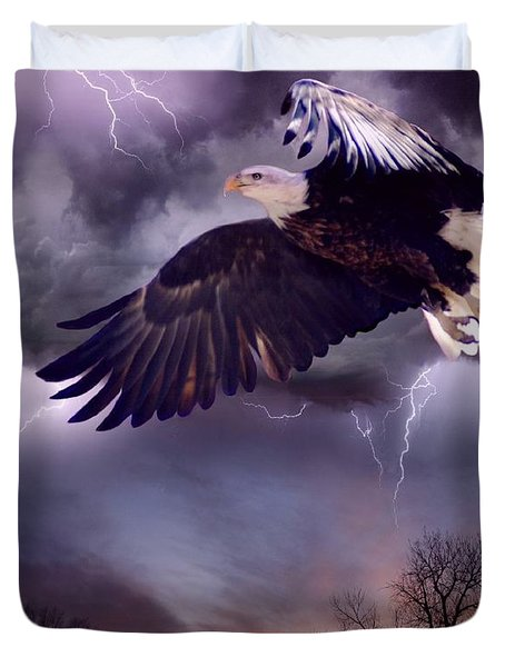 Meeting The Storm Duvet Cover by Bill Stephens