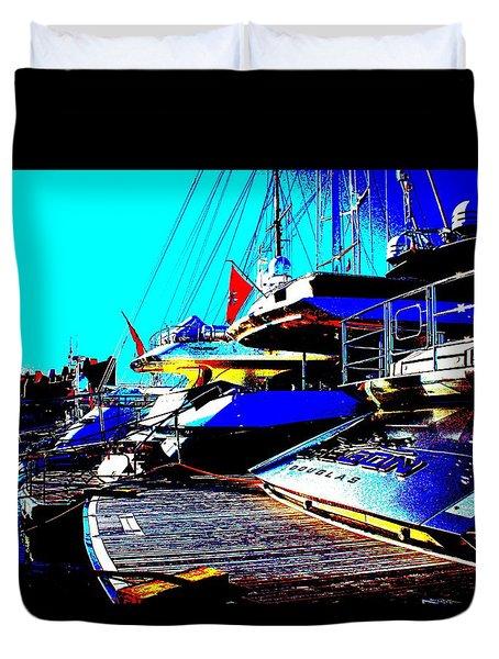 Mega Yachts Duvet Cover by Rogerio Mariani