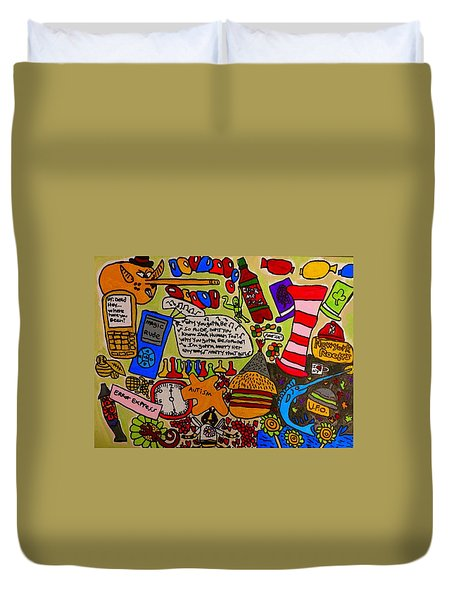 Duvet Cover featuring the painting Megaland Rude by Artists With Autism Inc