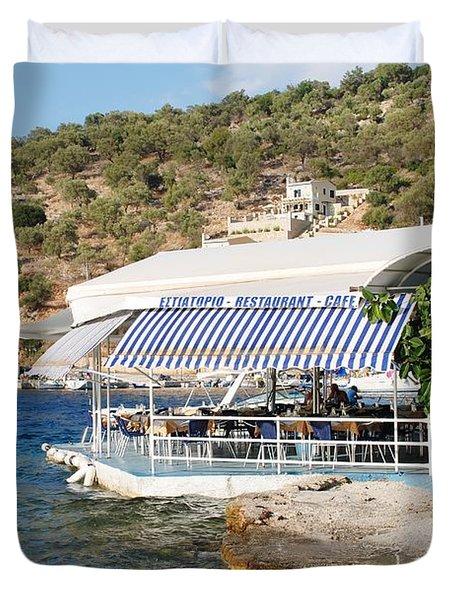 Meganissi Beach Taverna Duvet Cover