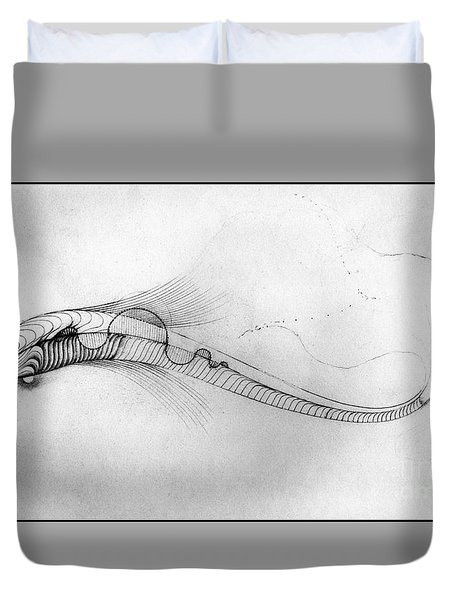 Duvet Cover featuring the drawing Megic Fish 2 by James Lanigan Thompson MFA