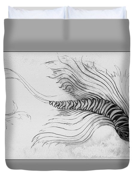 Duvet Cover featuring the drawing Megic Fish 3 by James Lanigan Thompson MFA