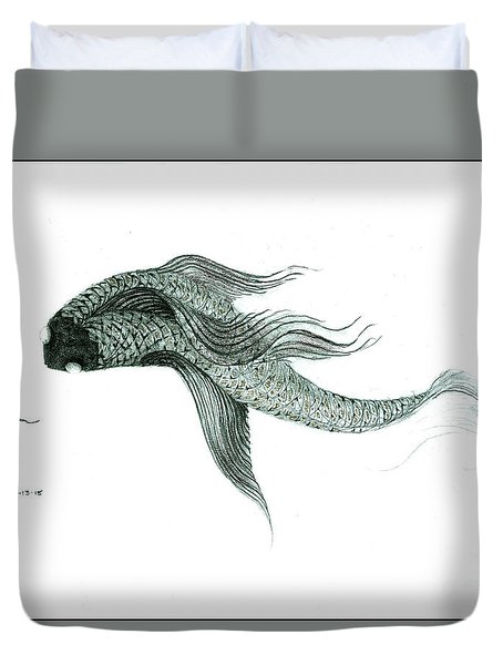Duvet Cover featuring the drawing Megic Fish 1 by James Lanigan Thompson MFA
