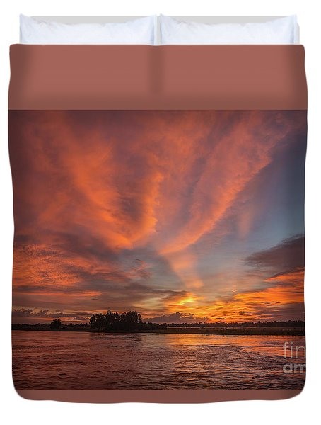 Mekong Sunset 3 Duvet Cover