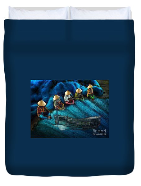 Mekong Weavers Duvet Cover by Mojo Mendiola