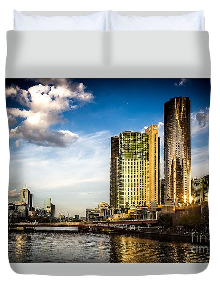 Melbourne Skyline Duvet Cover by Perry Webster